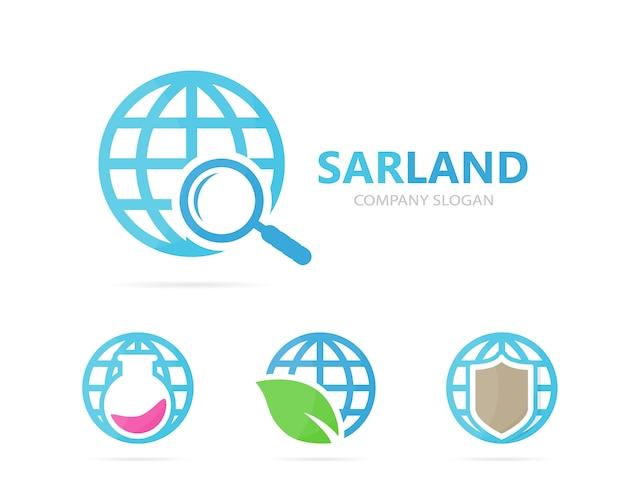Jeu De Logo Planète Et Loupe. Vecteur Premium
