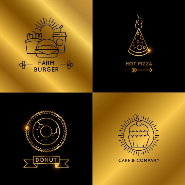 Jeu de logo de restaurant et café fast-food noir et or Vecteur Premium