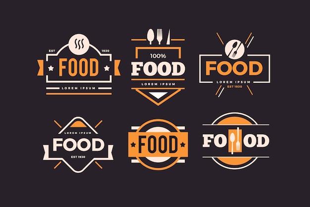 Jeu de logo de restaurant rétro doré Vecteur gratuit