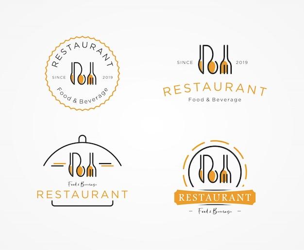Jeu de logo de restaurant Vecteur Premium