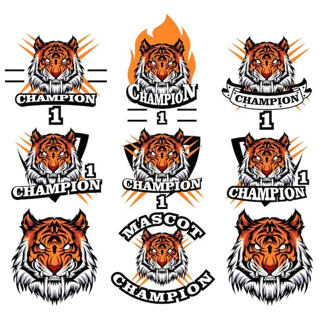 Jeu de logo de tigre Vecteur Premium