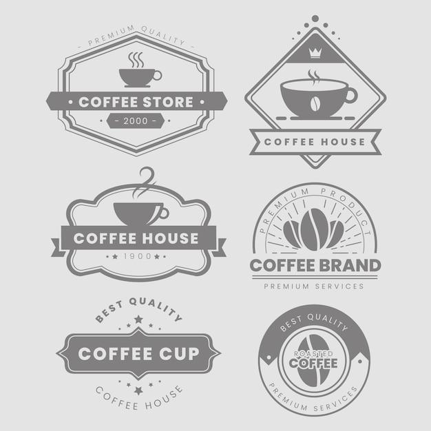 Jeu de logo vintage café Vecteur gratuit