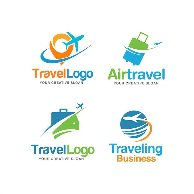Jeu De Logo De Voyage Moderne Abstrait Vecteur Premium