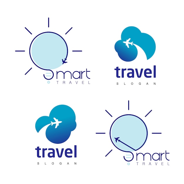 Jeu de logo de voyage Vecteur Premium