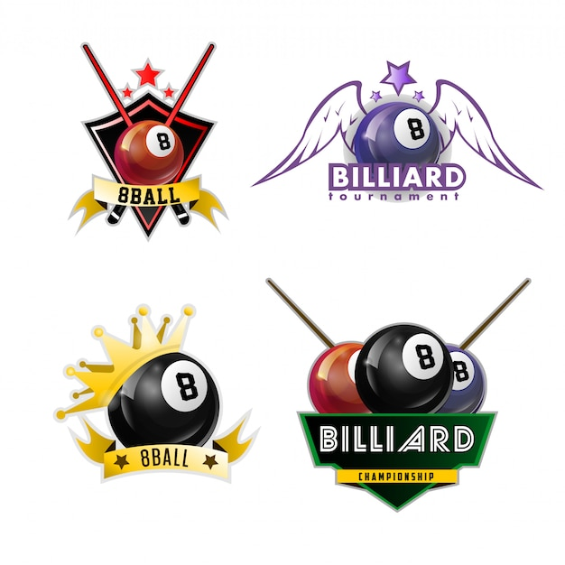 Jeu de logos de sport billard, billard et billard Vecteur Premium