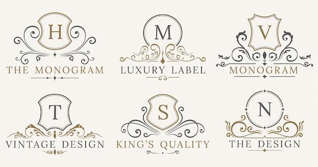 Jeu de logotype retro royal vintage shields Vecteur Premium