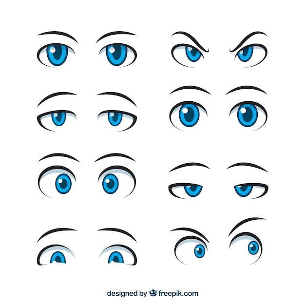 Jeu de main dessiné des yeux expressifs Vecteur gratuit