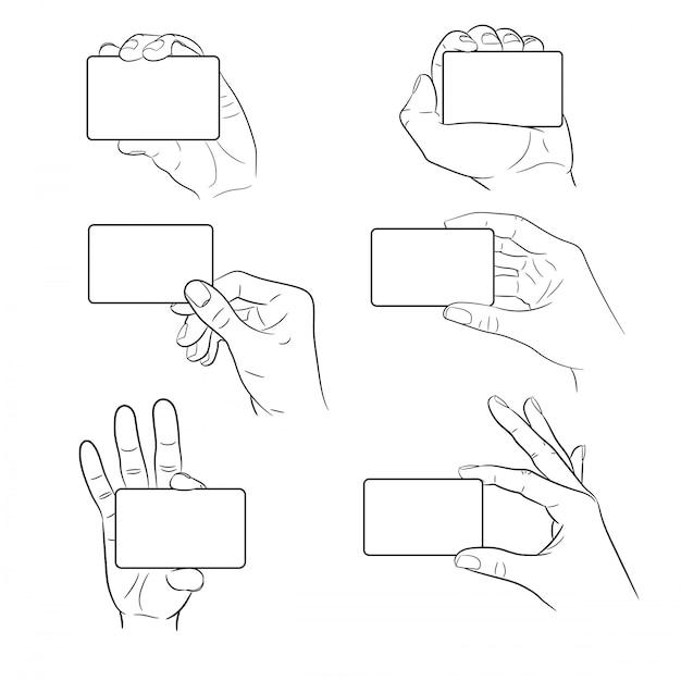 Jeu De Main Tenant Une Carte En Plastique D'illustration Vectorielle Monochrome Vecteur Premium