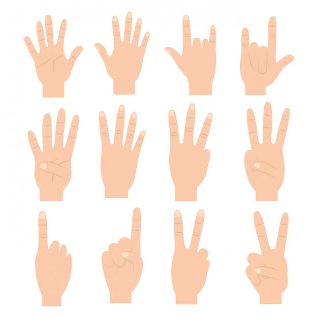 Jeu de mains avec des gestes différents Vecteur gratuit
