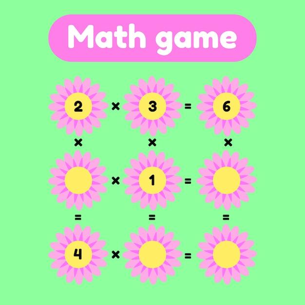Jeu de mathématiques pour les enfants d'âge préscolaire et scolaire. Vecteur Premium
