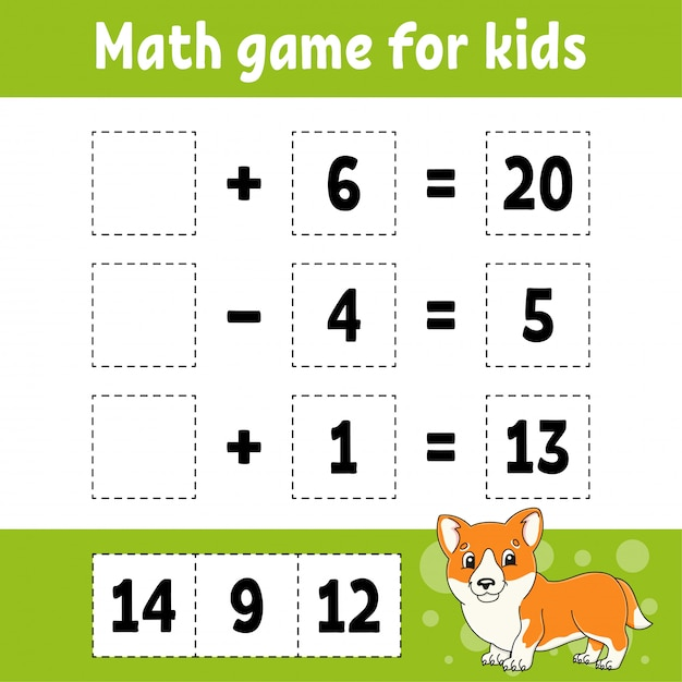 Jeu De Mathématiques Pour Les Enfants. Feuille De Travail De Développement De L'éducation. Page D'activité Avec Des Images. Vecteur Premium