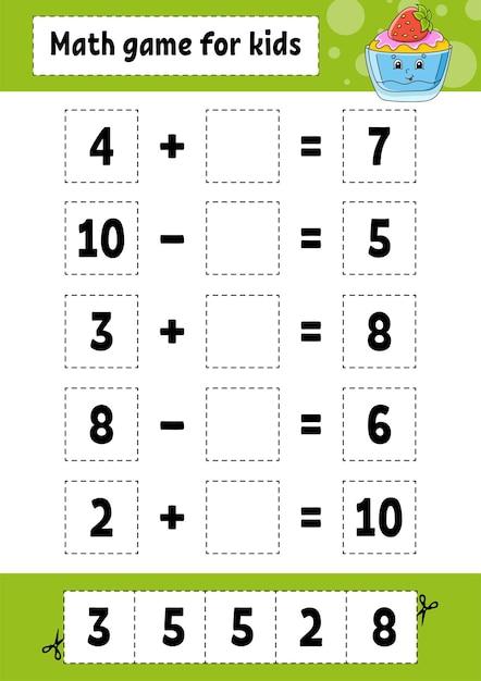Jeu De Mathématiques Pour Les Enfants. Feuille De Travail De Développement De L'éducation. Vecteur Premium
