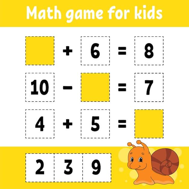 Jeu De Mathématiques Pour Les Enfants. Vecteur Premium