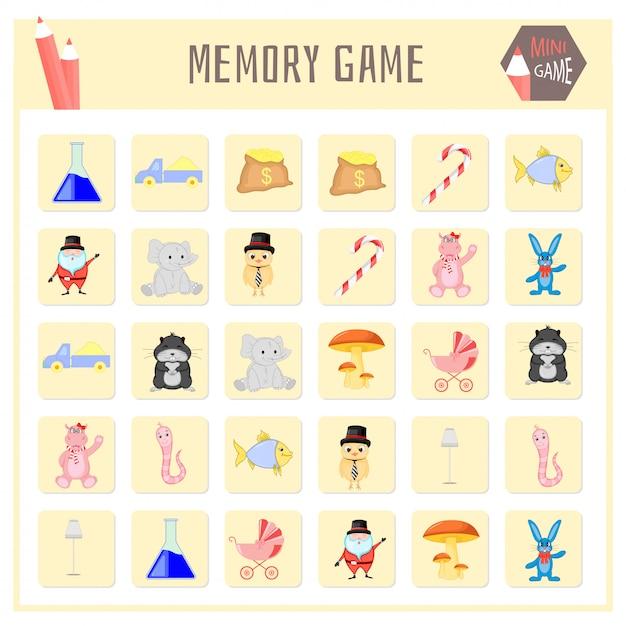Jeu de mémoire pour enfants, cartes animales Vecteur Premium