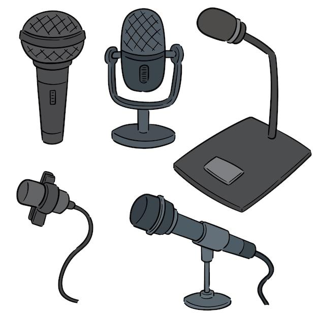 Jeu De Microphone Vecteur Premium