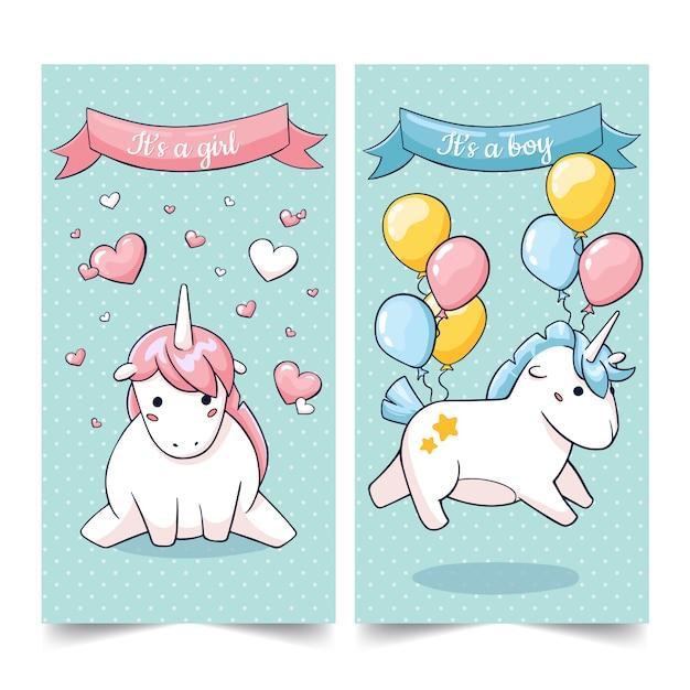 Jeu mignon de cartes de personnages de licorne d'anniversaire dans le stile de dessin animé Vecteur Premium