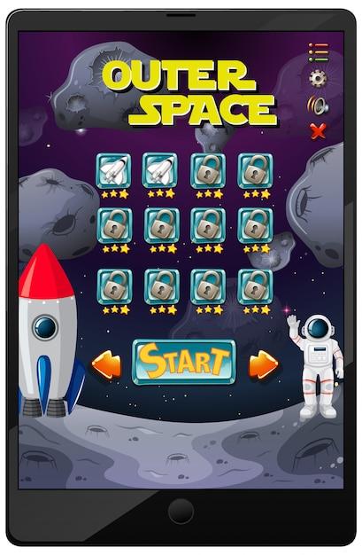 Jeu De Mission Spatiale Sur L'écran De La Tablette Vecteur gratuit