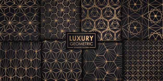 Jeu de modèle sans couture géométrique de luxe Vecteur Premium