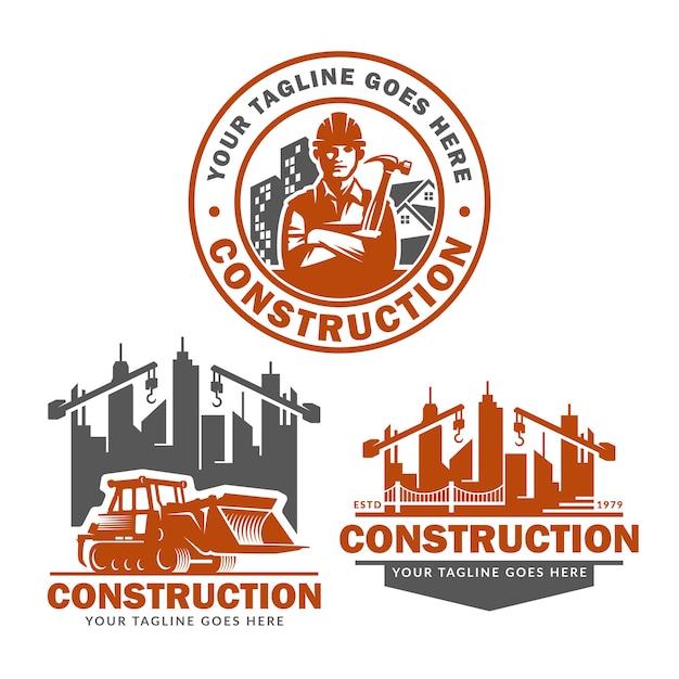 Jeu de modèles de logo de construction, pack de vecteur de logo de construction Vecteur Premium