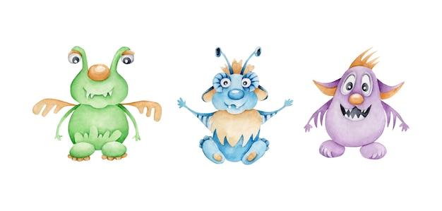 Jeu De Monstres Aquarelle.aliens.personnage De Dessin Animé Vecteur Premium