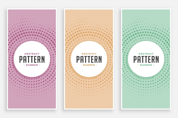 Jeu de motifs abstraits de demi-teintes circulaires Vecteur gratuit