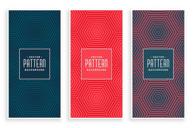 Jeu de motifs abstraits lignes hexagonales Vecteur gratuit