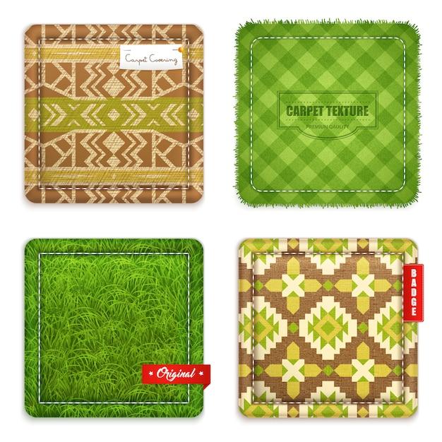 Jeu de motifs de texture de tapis réaliste Vecteur gratuit