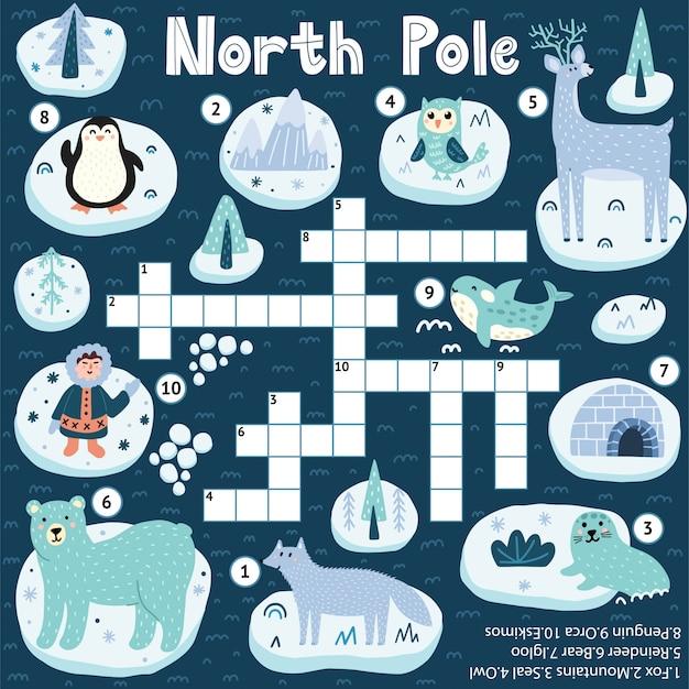 Jeu De Mots Croisés Du Pôle Nord Pour Les Enfants Vecteur Premium