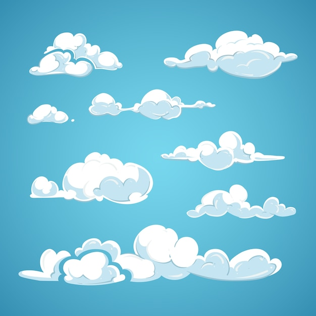 Jeu de nuages de dessin animé vector Vecteur Premium