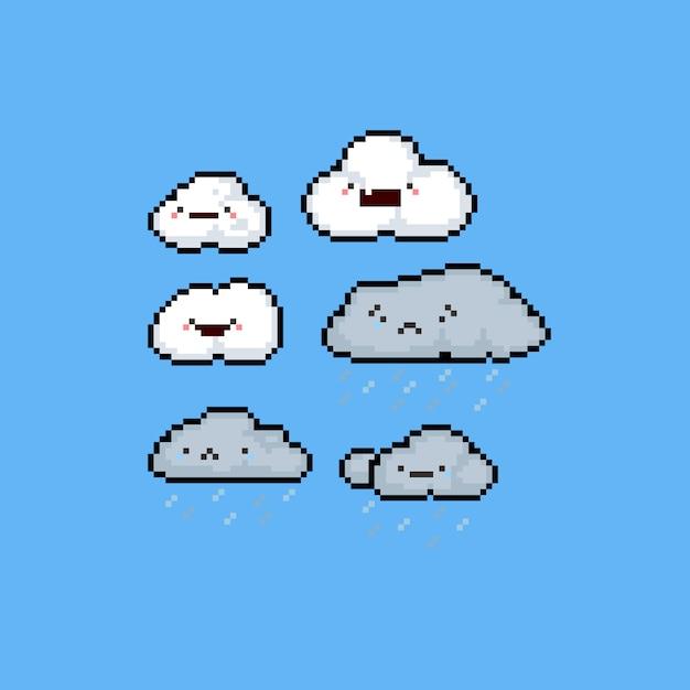 Jeu De Nuages Triste Et Heureux De Dessin Animé Pixel Art