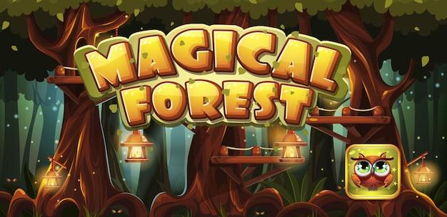 Jeu D'ordinateur De Forêt Magique Vecteur Premium