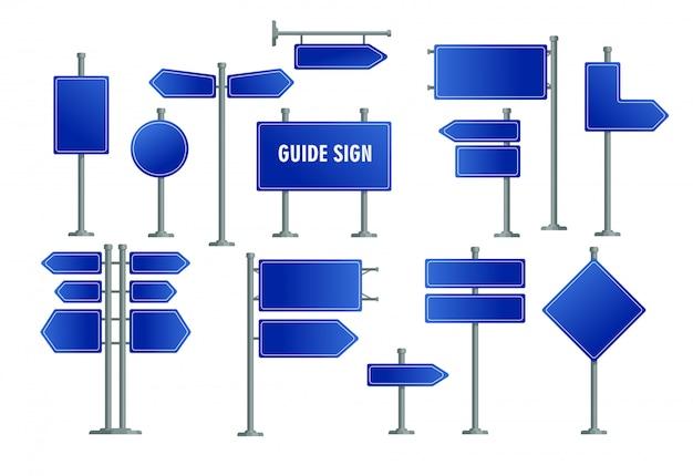 Jeu de panneaux route bleu Vecteur gratuit