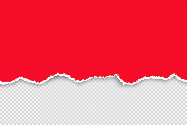 Jeu De Papier Déchiré De Couleur. Papier Rouge Déchiré Avec Feuille De Ruban Blanc. Illustration Réaliste De Vecteur Sur Fond Transparent Pour Les Bannières Et Les Signes Vecteur Premium