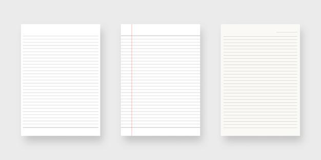 Jeu De Papier Pour Ordinateur Portable. Feuille De Modèle De Papier Ligné. Isolé. Conception De Modèle. Illustration Réaliste. Vecteur Premium