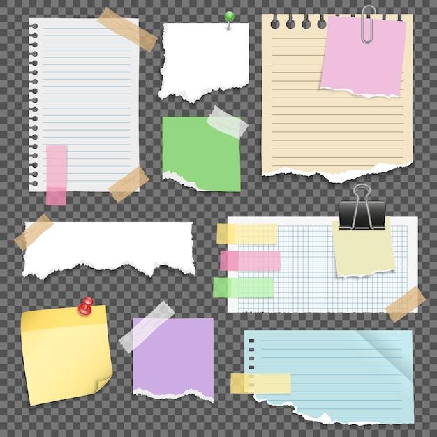 Jeu De Papiers à Notes Vecteur gratuit
