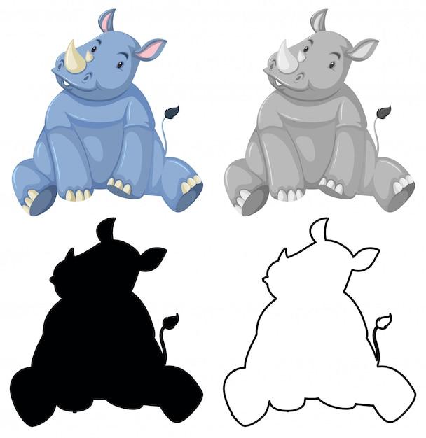 Jeu de personnage de rhinocéros Vecteur gratuit