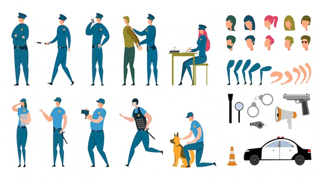 Jeu De Personnages Animés De Policier Stylisés Vecteur Premium