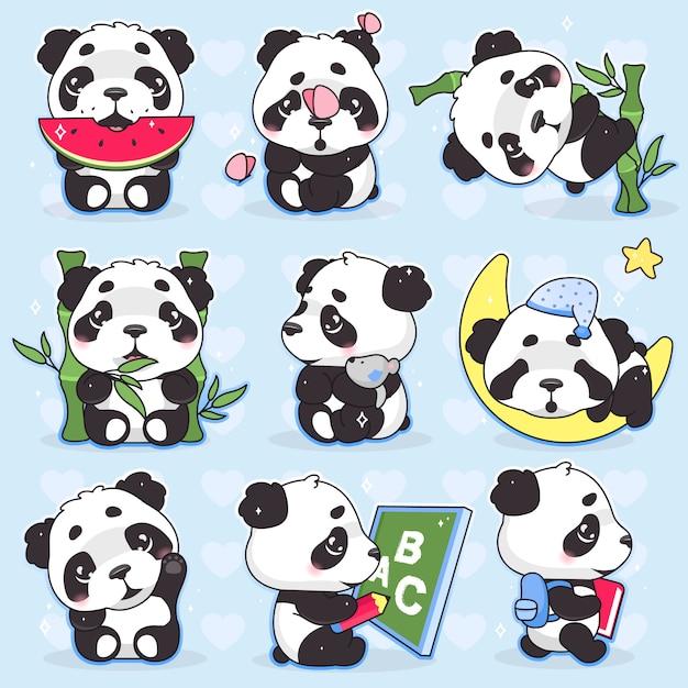 Jeu De Personnages De Dessin Animé Mignon Panda Kawaii. Animal Adorable, Heureux Et Drôle Mangeant La Pastèque, Autocollant Isolé En Bambou, Pack De Patchs. Anime Bébé Panda Ours Emoji Endormi Sur Fond Bleu Vecteur Premium