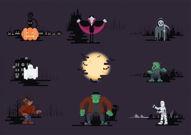 Jeu De Personnages De Dessin Animé Plat Halloween Vecteur Premium