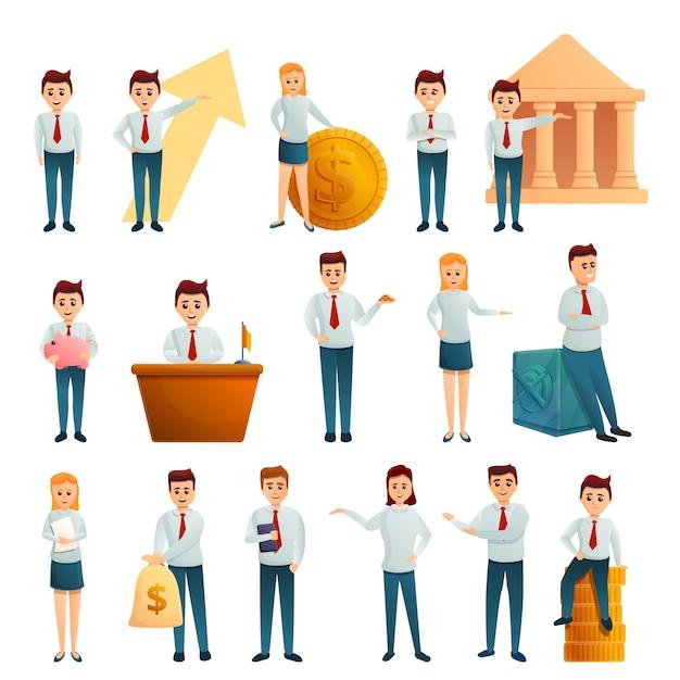 Jeu De Personnages Employés De Banque, Style Cartoon Vecteur Premium