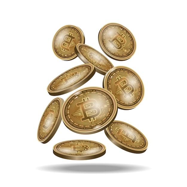 Jeu de pièces de monnaie de crypto-monnaie numérique bitcoin or, icône de la pièce réaliste isolée sur fond noir. Vecteur Premium