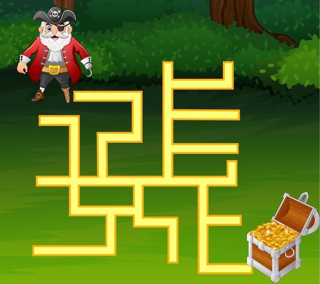 Jeu de pirates labyrinthe trouver chemin au trésor Vecteur Premium