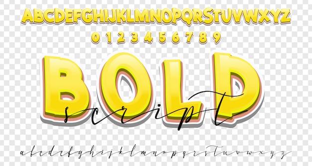 Jeu de polices gras et écriture manuscrite, style de calligraphie moderne Vecteur Premium