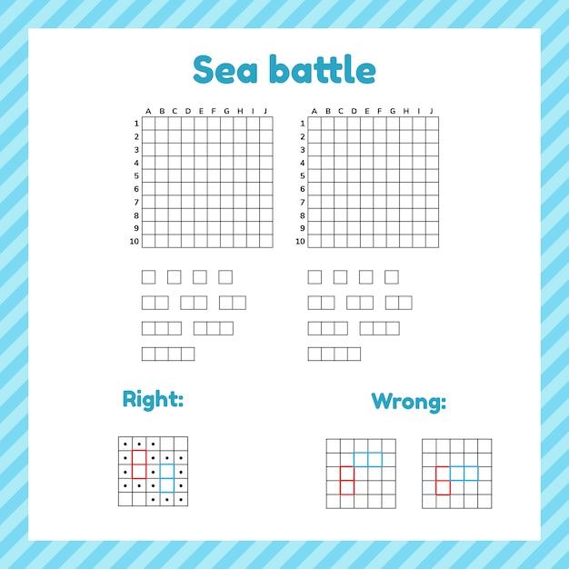 Jeu pour les enfants. bataille maritime. page modèle avec formulaire et éléments pour cuirassé. Vecteur Premium