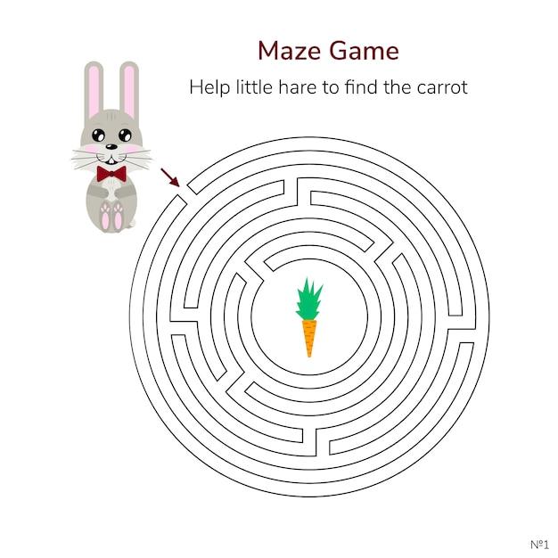 Jeu pour les enfants. labyrinthe circulaire ou labyrinthe pour les enfants. Vecteur Premium