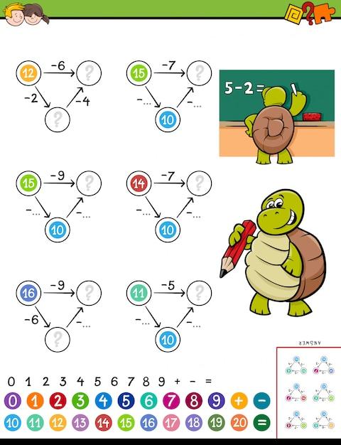 Jeu de puzzle éducatif de soustraction mathématique pour enfants Vecteur Premium