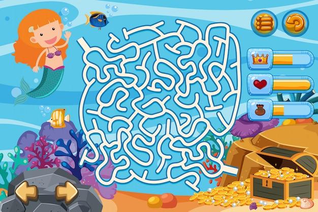 Jeu de puzzle avec des pièces de sirène et d'or sous l'eau Vecteur Premium