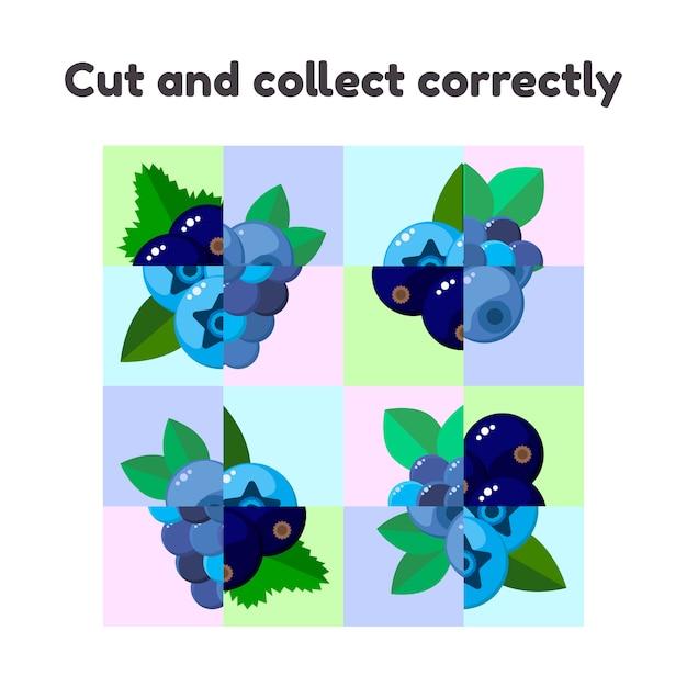 Jeu de puzzle pour enfants d'âge préscolaire et scolaire. Vecteur Premium
