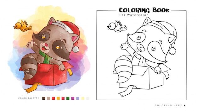 Jeu De Raton Laveur Mignon Avec Oiseau, Illustration De Dessin Animé Pour Livre De Coloriage Aquarelle Vecteur Premium