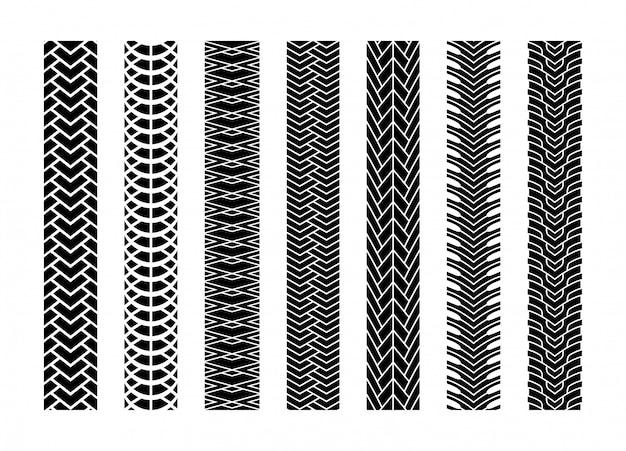 Jeu de roues ou de voitures à roues black tire tracks Vecteur Premium
